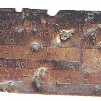 M4-A1 Sherman Serial Number Plaque - Military and Wartime