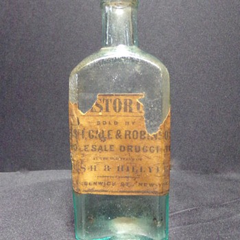 Mid-1800s Labeled Bottle, Open Pontil - Bottles