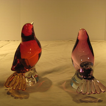 Red and pink glass birds - Art Glass