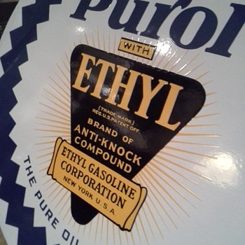 """(NEW INFO)"" On, Pure Oil Company Sign. (PUROL with ETHYL) New Pic's - Advertising"