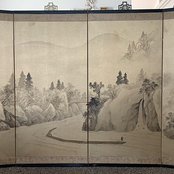 4 Panel Asian Silk Screen Painting - Asian