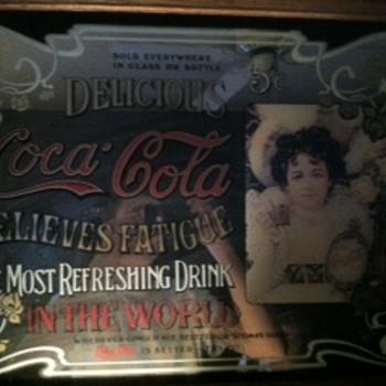 coca cola- relieves fatigue art mirror 1977  - Coca-Cola