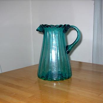Antique Glass Pitcher from  Yugoslavia Circa 1900 - Glassware
