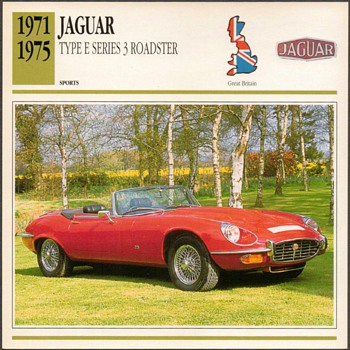 Vintage Car Card - Jaguar Type E Roadster - Classic Cars