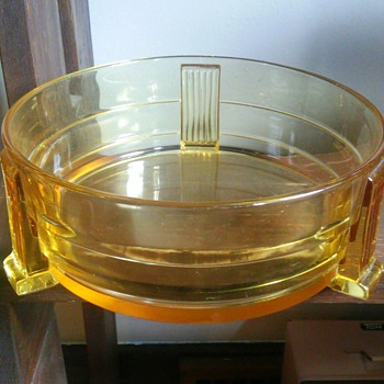 Large art deco yellow glass bowl? - Art Deco