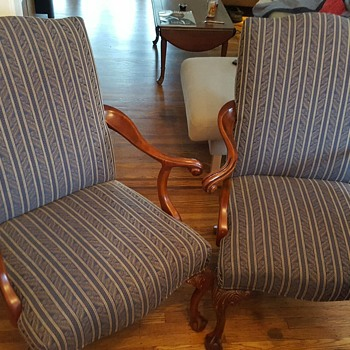 Awesome antique arm chairs, just purchased.  Age/value??
