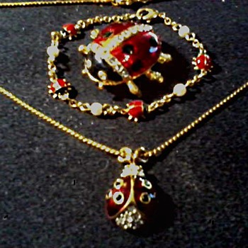 Lady Bug.... Lady Bug.... Fly A Way Home !/ Pin, Pendant, and Bracelet / Circa 20th Century - Costume Jewelry