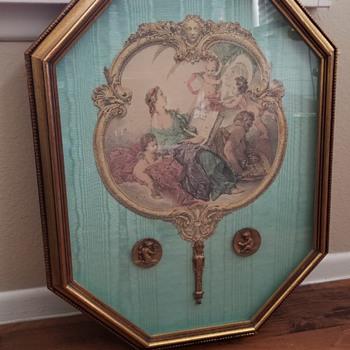Vintage Victorian Framed Hand Fan - Accessories