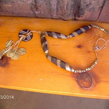 Beautiful Handpainted Bone Necklace With  Metal Pendants