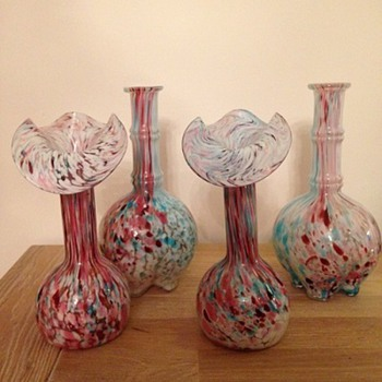 2 decanters and 2 vases by Legras' factory