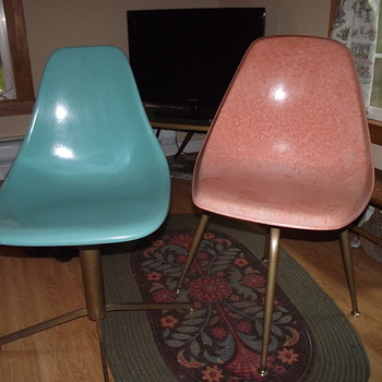 Two Plastic (Fiberglass?) 50's chairs--Pink and Blue - Furniture