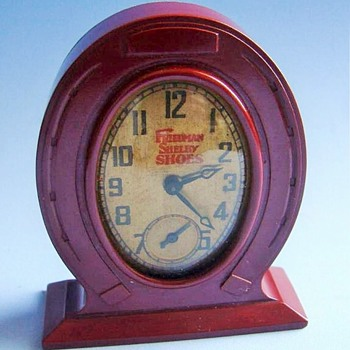 Miniature Bakelite Mantle Clock - Advertising
