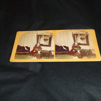 Handtinted stereoview of girl with toys and bird - Photographs