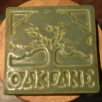 6 inch tile 'OAKLAND' with a great Oak Tree in Relief - Pottery
