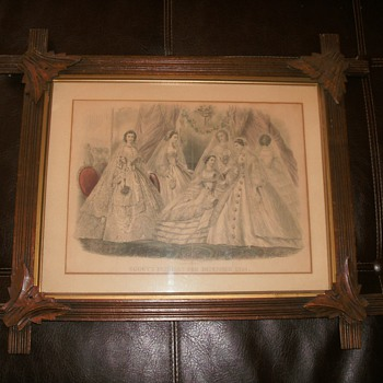 Antique framed Godey's Fashion print Dec. 1891 - Posters and Prints