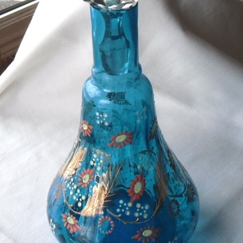 Big Enamel & Gold Decorated Blue Bohemian Glass Decanter - Art Glass