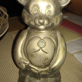 Metal Bear Piggy Bank - Coin Operated