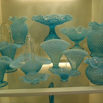 Fenton Blue Hobnail collection - Glassware