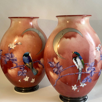 Baccarat Japonisme Birds, Man in the Moon, Blossom Glass Vases - 1880 - Art Glass