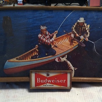 Budweiser sign with fisherman - Breweriana