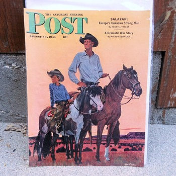 Saturday Evening Post Cover August 19, 1944 Looks Like Johnny West and Son - Paper