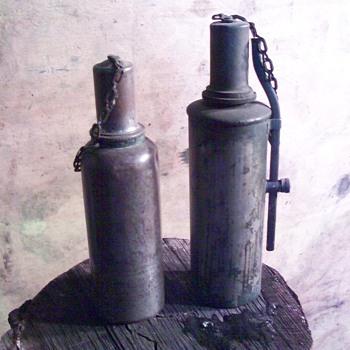 a couple of alcohol lanterns