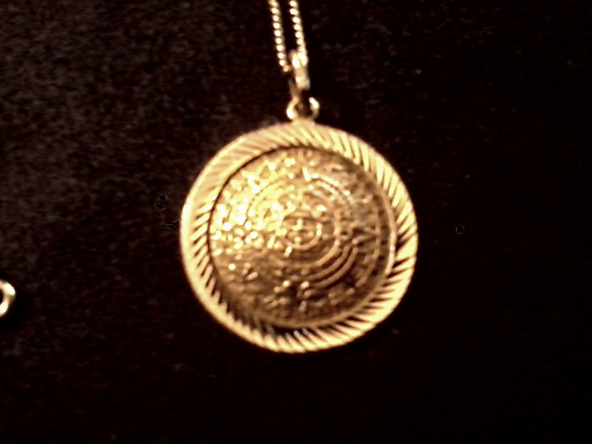 14 k gold aztecmayan sun calendar pendant with 12k gf chain 14 k gold aztecmayan sun calendar pendant with 12k gf chain circa 20th century collectors weekly aloadofball Image collections