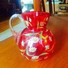 Harrach Cranberry Enamelled Applied Handle Small Pitcher Vase
