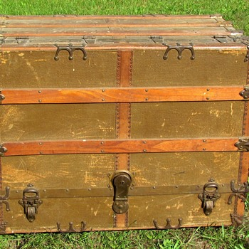 Early 1900's Canvas Flat Top Dresser Trunk - Furniture
