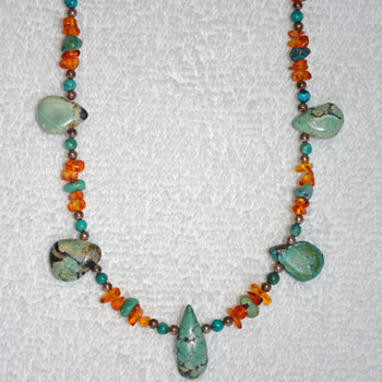 Turquoise and Amber Necklace - Fine Jewelry