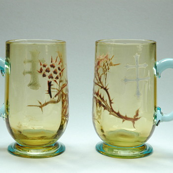 "rare pair of emile gallé attributed "" thistle and cross of lorraine"" service  liquor  glass mugs. - Art Glass"