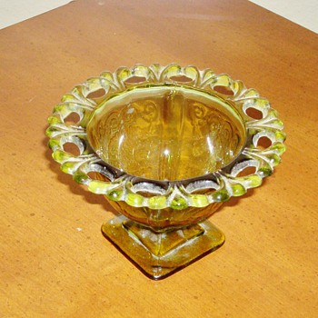 Green Glass Dish - Glassware
