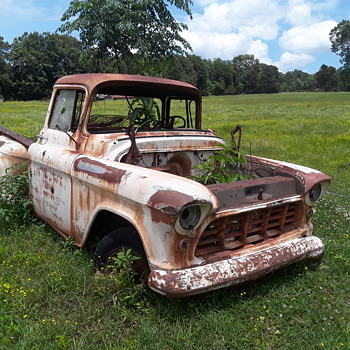 the remains of an old [1956 Chevrolet] pickup truck (#1)  - Classic Cars