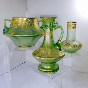 """Early Loetz """"Max Emanuel"""" Olympia Enamelled Ewer Series 1, PN 6649  - Art Nouveau"""