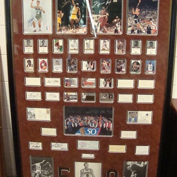 Basketball's 50 Greatest Players Framed Oversize Autograph Display