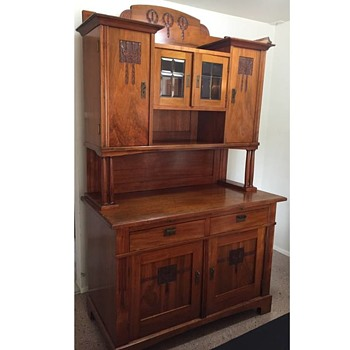 Large Hutch/Cabinet Solid Wood w/ Carved design & Brass Hardware No Name