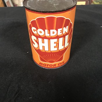 Golden Shell  motor oil can  - Petroliana