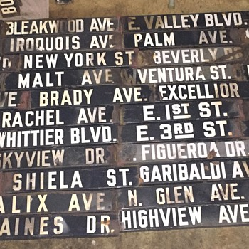 Early 1900s Los Angeles Porcelain Enamel Street Signs - Signs