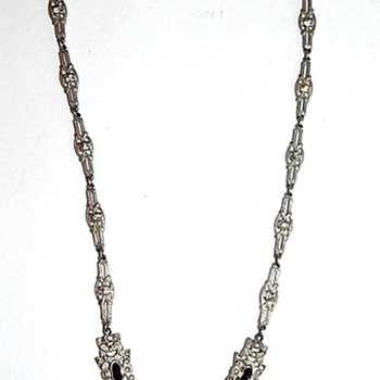 Vintage silver and black pendant necklace - Costume Jewelry