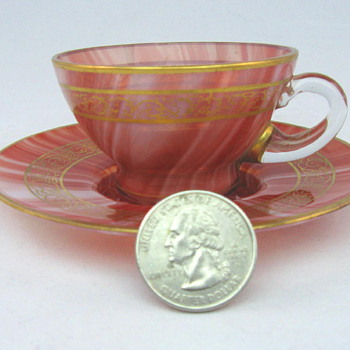 Loetz Carneol Demitasse Cup and Saucer  - Art Glass