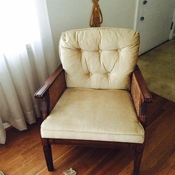 Velvet Tufted Back & Cane Armchair