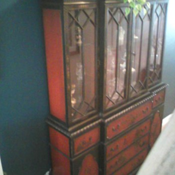 Breakfront, hand painted oriental. Also has a pull out secretaryal desk. - Furniture