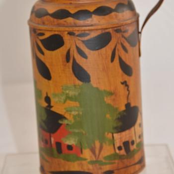 Antique Painted Water Pitcher Primative TOLEWARE Tole - Folk Art