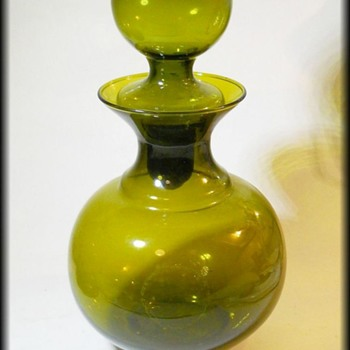 Vintage Avocado Glass Decanter - Art Glass