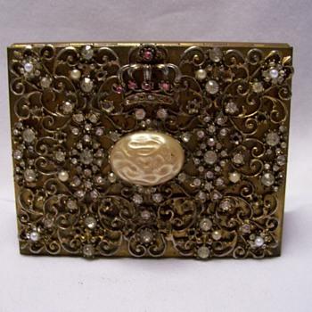 Rhinestone and Pearl decorative cigarette case - Tobacciana