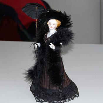 half doll hatpin holder or pin cushion