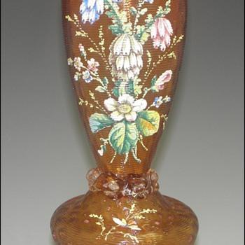 Iridescent European Art Nouveau Victorian Enameled Vase - Art Glass
