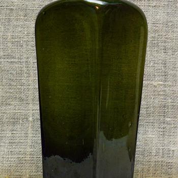 Old Hand Blown Green Bottle  - Bottles