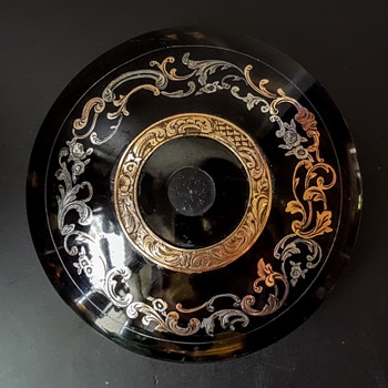 Kyratised antique 19th bonbonniere, gold and silver inlaid turtleshell. - Victorian Era