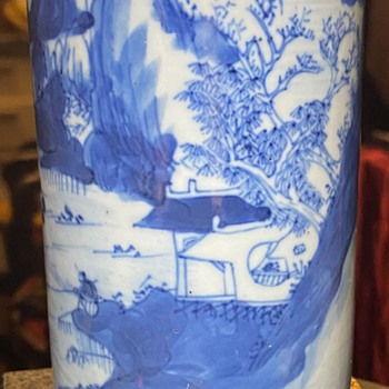Brush Pot in Underglaze Blue - Asian
